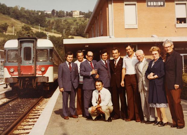 Piergiorgio Sartori insieme ad alcuni colleghi nel '61