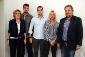Foto Gazzetta di Modena, i Banchini. Da sinistra Bruna Braga, Alessandro, Nicola, Alessandra e Augusto