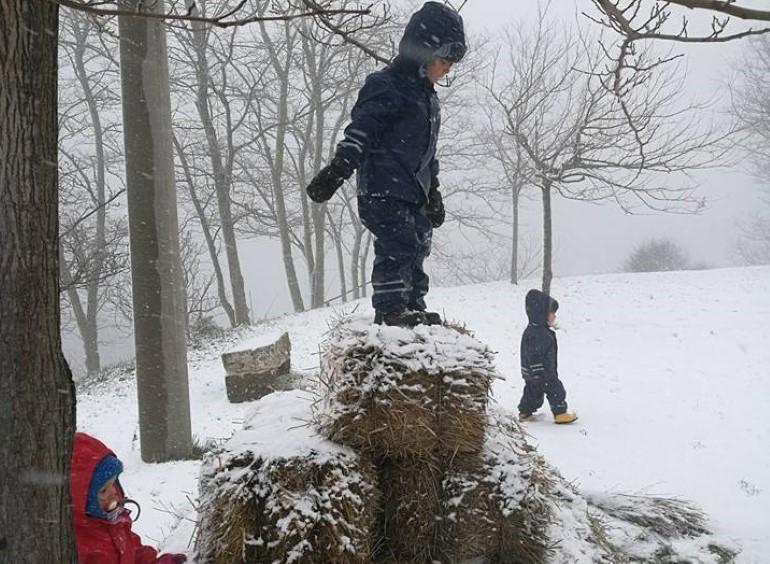 """I bambini di """"Maestra Natura"""" giocano nella neve"""